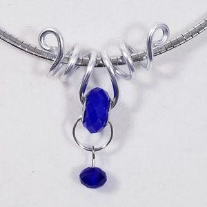 Aluminum Silver Spiral Pendant Opaque Blue Bead